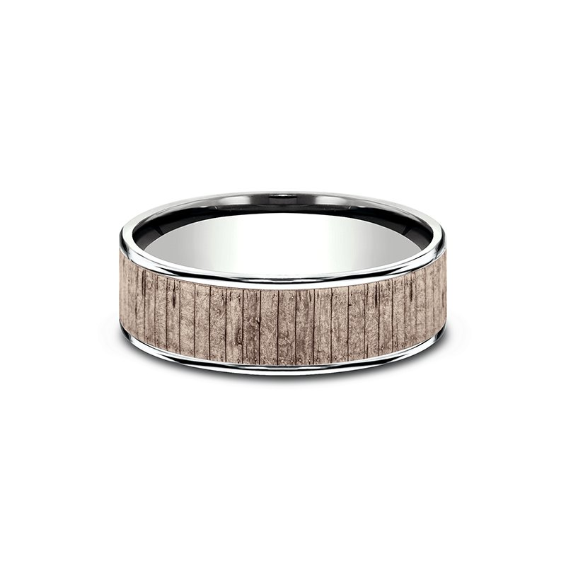 Benchmark Two Tone Comfort-Fit Design Wedding Ring