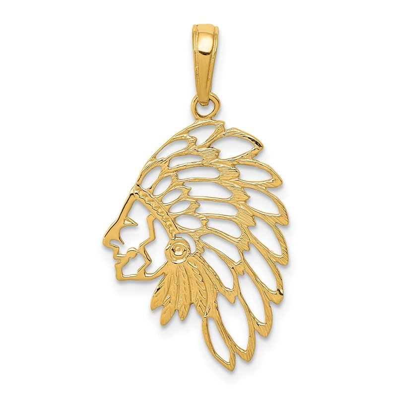 Quality Gold 14K Cut-out Head Dress Pendant