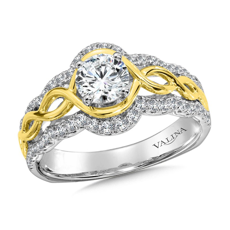 Valina Diamond Engagement Ring Mounting in14K White/Yellow Gold (.40 ct. tw.)