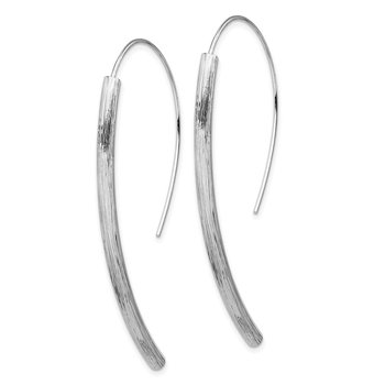 Sterling Silver RH-plated Polished Textured Bar Dangle Earrings