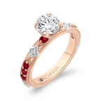 Carizza 14K Two-Tone Gold Round Diamond and Ruby Engagement Ring (Semi-Mount)