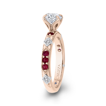 14K Two-Tone Gold Round Diamond and Ruby Engagement Ring (Semi-Mount)