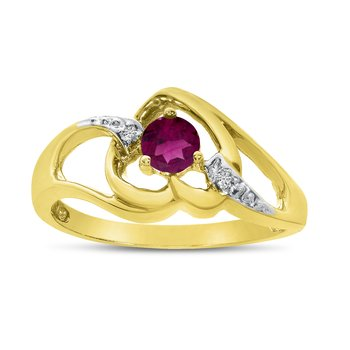 14k Yellow Gold Round Rhodolite Garnet And Diamond Heart Ring