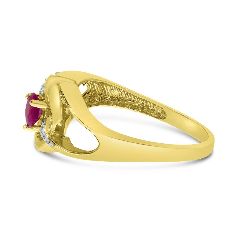Color Merchants 14k Yellow Gold Round Rhodolite Garnet And Diamond Heart Ring
