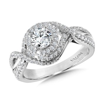 Crisscross Diamond Triple-Halo Engagement Ring