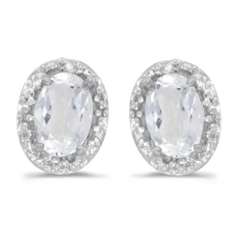 Color Merchants 10k White Gold Oval White Topaz And Diamond Earrings