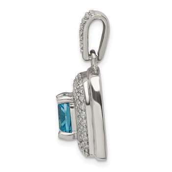 Sterling Silver Blue & White CZ Square Pendant