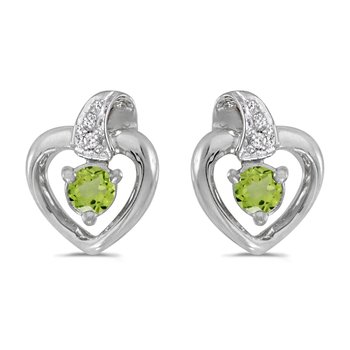 14k White Gold Round Peridot And Diamond Heart Earrings