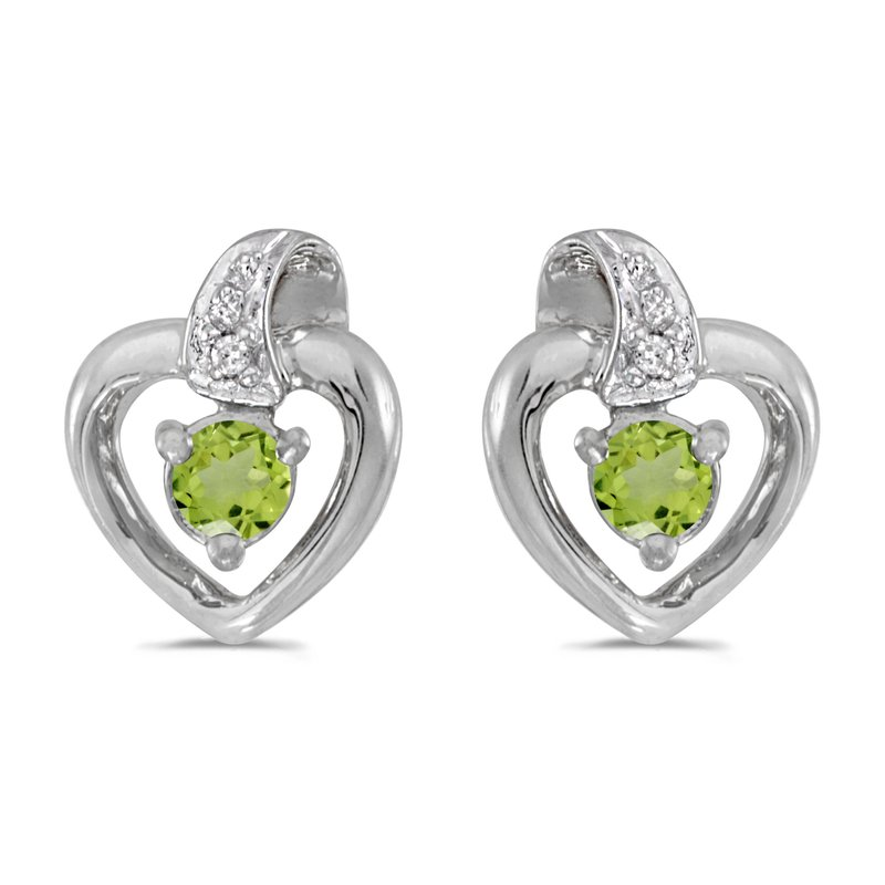 Color Merchants 14k White Gold Round Peridot And Diamond Heart Earrings