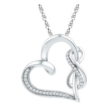 10kt White Gold Womens Round Diamond Heart Infinity Pendant 1/8 Cttw