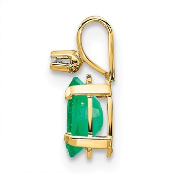14k Diamond & Emerald Birthstone Pendant