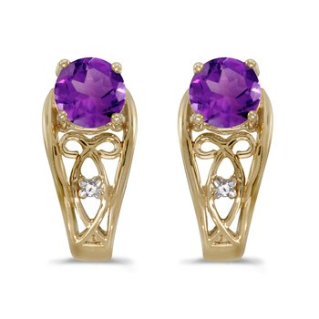 10k Yellow Gold Round Amethyst And Diamond Earrings