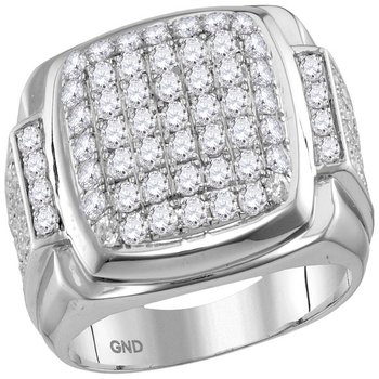 10kt White Gold Mens Round Diamond Square Symmetrical Cluster Ring 2-5/8 Cttw