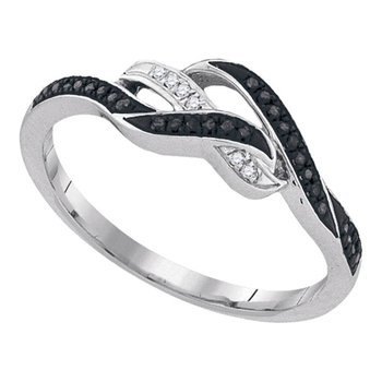 10kt White Gold Womens Round Black Color Enhanced Diamond Woven Band Ring 1/10 Cttw