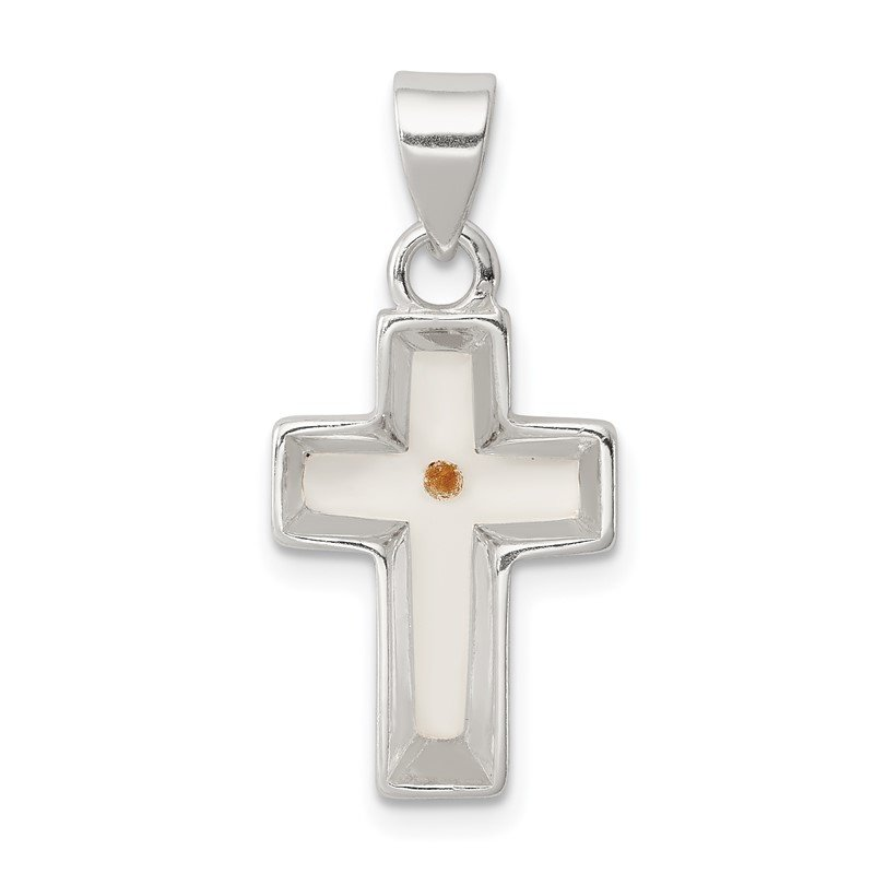 Quality Gold Sterling Silver Enameled with Mustard Seed Cross Pendant