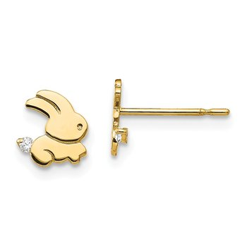 14k Madi K CZ Children's Bunny Post Earrings