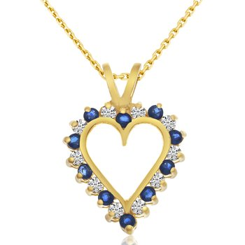 14k Yellow Gold Sapphire and Diamond Heart Pendant