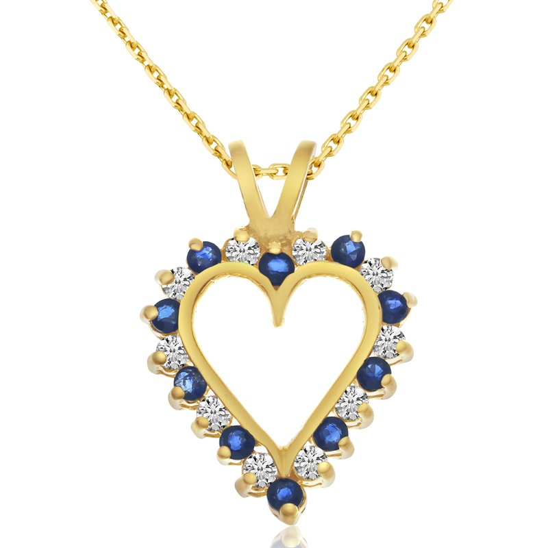 Color Merchants 14k Yellow Gold Sapphire and Diamond Heart Pendant