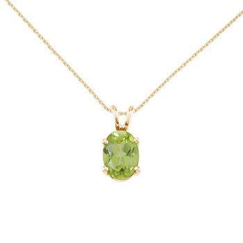 14k Yellow Gold Oval Peridot Pendant