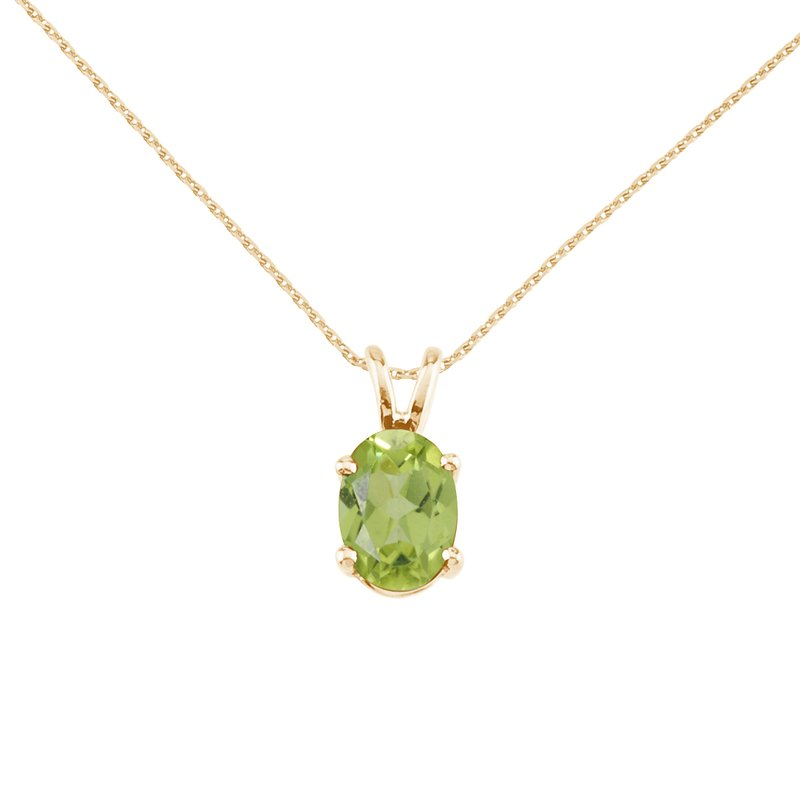 Color Merchants 14k Yellow Gold Oval Peridot Pendant
