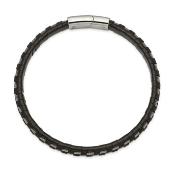 Stainless Steel Polished Cable and Black Leather 8.75in Bracelet