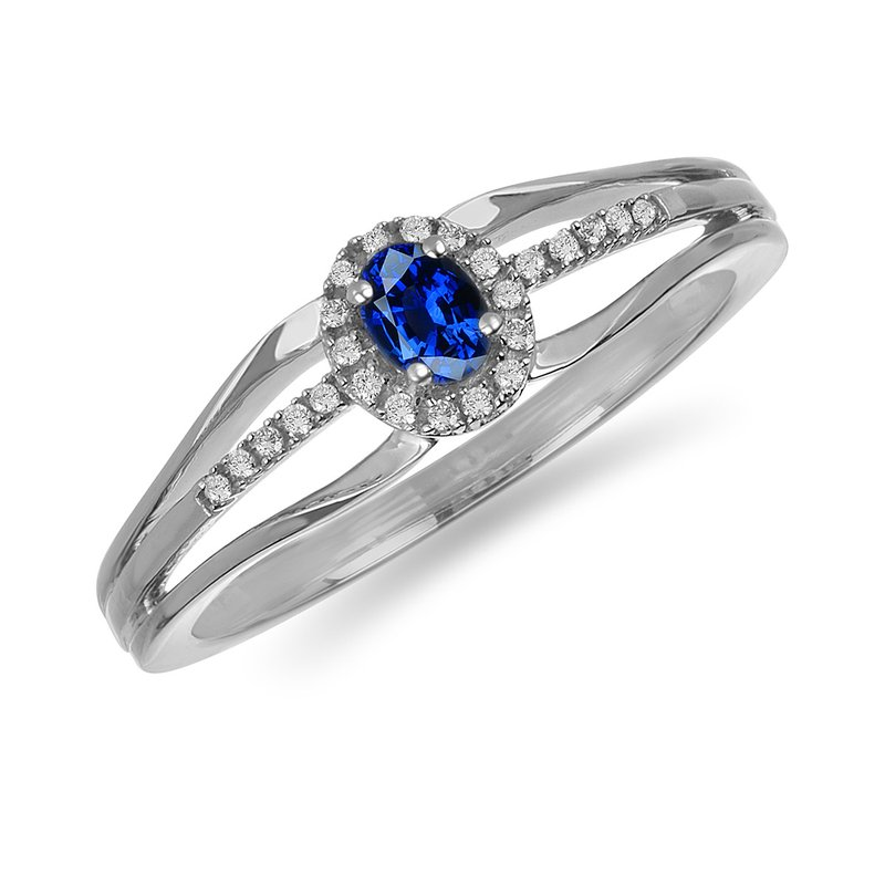BB Impex 10K WG and diamond and Blue Sapphire halo style birthstone ring