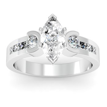 Round & Princess Diamond Engagement Ring