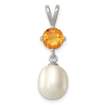 Sterling Silver Rhodium-plated Citrine 8-9mm FWC Pearl Teardrop Pendant