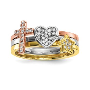 Sterling Silver Rhodium-plate Gold & Rose-tone Star Cross CZ 3 Ring Set