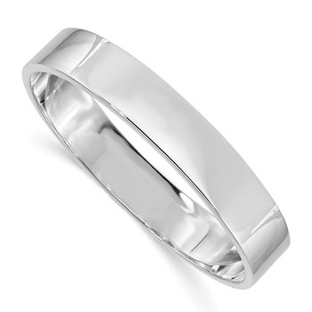 Sterling Silver 12.50mm Rhodium-plated Polished Slip-on Bangle