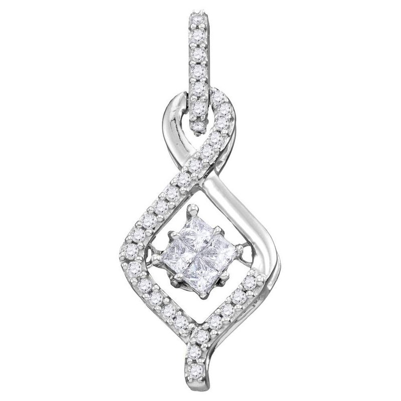 Gold-N-Diamonds, Inc. (Atlanta) 10kt White Gold Womens Princess Diamond Moving Twinkle Cluster Teardrop Pendant 1/5 Cttw