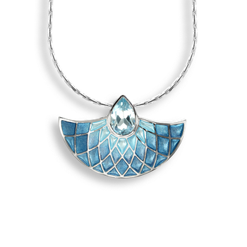 Sterling Silver Fan Necklace-Blue.  Blue Topaz.