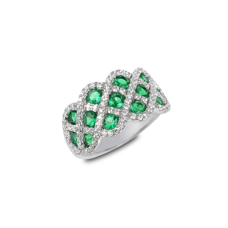 Fana You And Me Emerald and Diamond Interweaving Ring