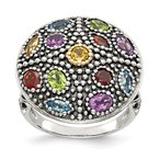 Shey Couture Sterling Silver w/14k Antiqued Multi Gemstone Ring