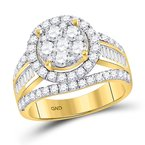 Kingdom Treasures 14kt Yellow Gold Womens Round Diamond Flower Cluster Bridal Wedding Engagement Ring 1-7/8 Cttw