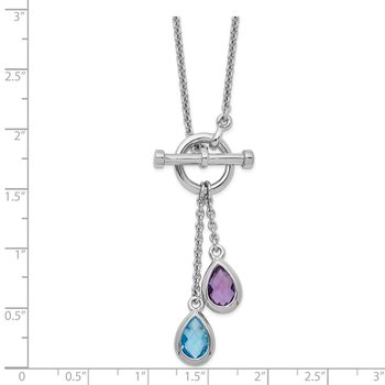Sterling Silver Rhod-plat Amethyst and Light Swiss Blue Topaz Necklace