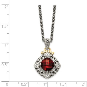 Sterling Silver w/14k Diamond & Garnet Necklace