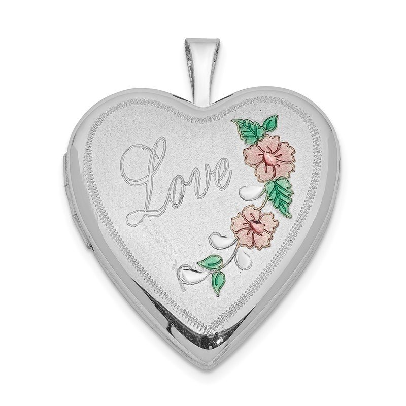 Quality Gold Sterling Silver Rhodium-plated 20mm D/C & Enameled Love Heart Locket