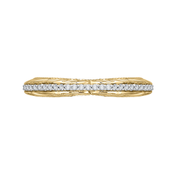 18K Two-Tone Gold Round Diamond Wedding Band