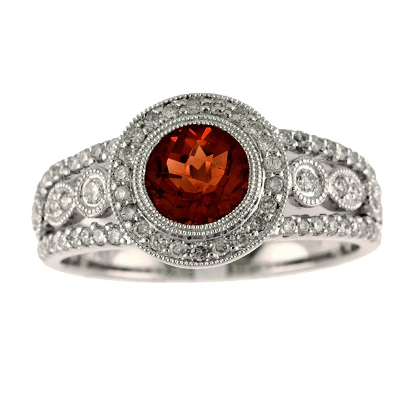 Color Merchants 14k White Gold Round Garnet And Diamond Ring