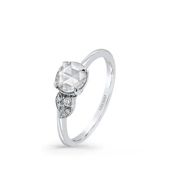Rose Cut Floral Leaf Dainty Diamond Engagement Ring