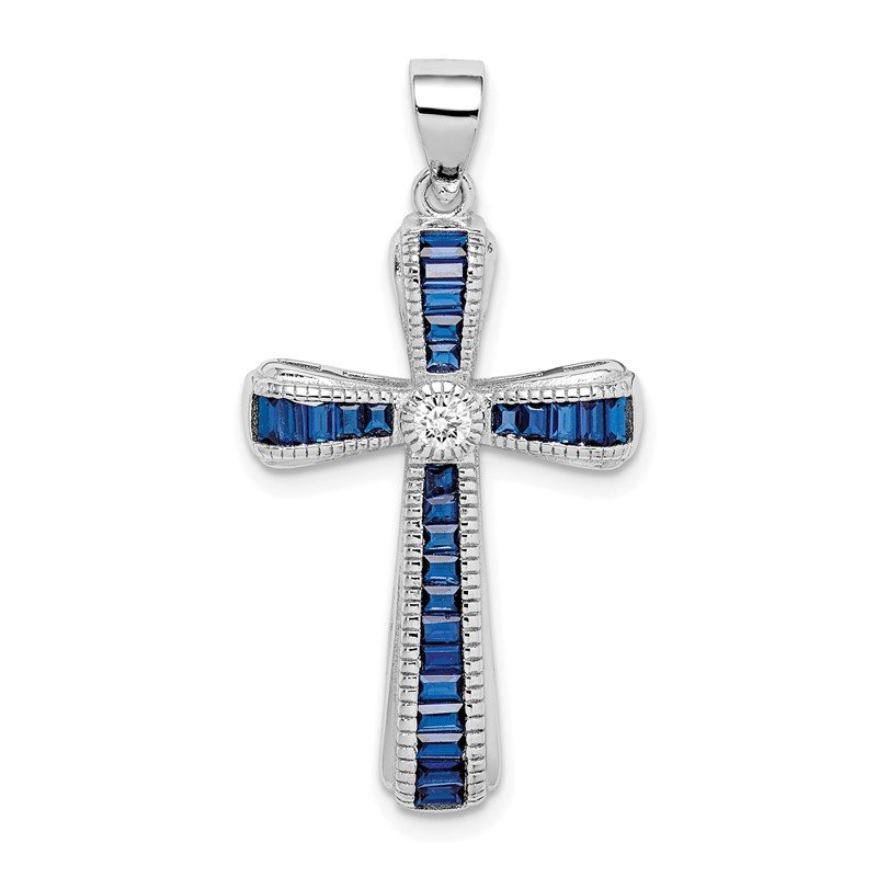 Quality Gold Sterling Silver Rhodium-plated CZ & Synthetic Blue Spinel Cross Pendant