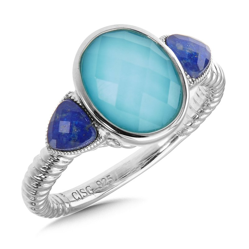Colore Sg Sterling Silver Turquoise Fusion & Lapis Quartz Ring