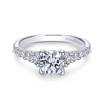 14k White Gold Pave Graduating Diamonds with Straight Shank Engagement Ring