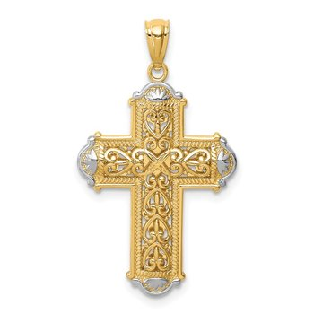 14K White Rhodium D/C Reversible Cross Pendant