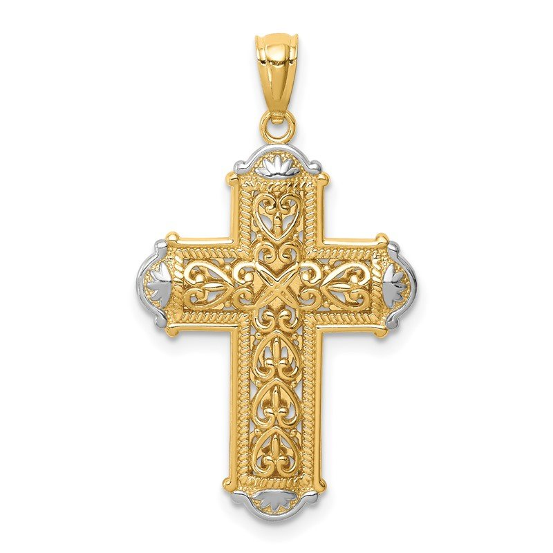 Quality Gold 14K White Rhodium D/C Reversible Cross Pendant