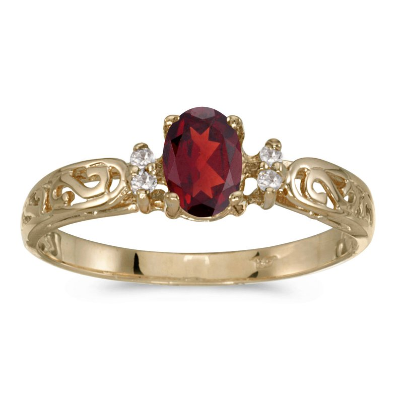 Color Merchants 10k Yellow Gold Oval Garnet And Diamond Ring