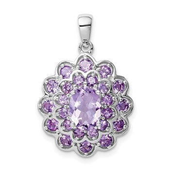 Sterling Silver Rhodium-plated 8x6 Oval Center Amethyst Pendant