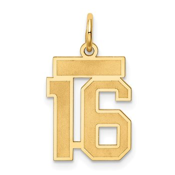 14k Small Satin Number 16 Charm