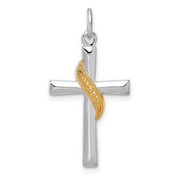 Sterling Silver Rhodium-plated & Gold Tone Cross Pendant